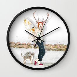 Deer Woman and Butterfly Cat Wall Clock