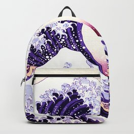 The Great wave purple fuchsia Backpack