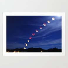 Sept 27th 2015 Supermoon Eclipse Over Arizona Art Print