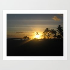 Golden Hawaiian Sunset Art Print
