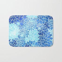 Space Dahlias Sky Blue Bath Mat