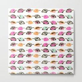 Vintage neon pink teal orange cute bird pattern Metal Print