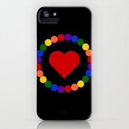 Heart framed in circle of beads of LGBT rainbow flag colors iPhone Case