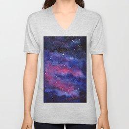 Nebula Galaxy Watercolor Space Sky Unisex V-Neck