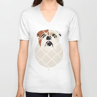bulldog V-neck T-shirts featuring Bulldog by SaveTheDogs.es