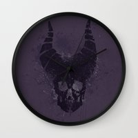 maleficent Wall Clocks featuring maleficent  by jerbing