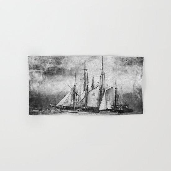 black and white ship Hand & Bath Towel