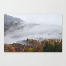 Rain clouds sweeping through the mountains near Blea Tarn. Cumbria, UK. Canvas Print