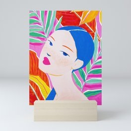Girl with Ponytail and Palm Mini Art Print