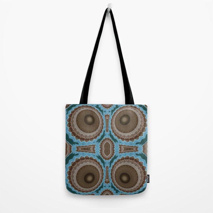 Brown Warts on Blue Pattern Tote Bag