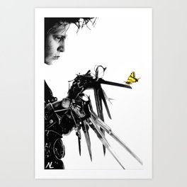 Edward Scissorhands Illustration Tim Burton Film Johnny Depp Movie Pop Art Horror Home Decor Art Print