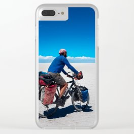 Cycling on Salar de Uyuni. Clear iPhone Case