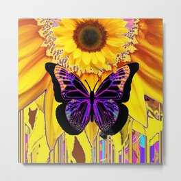 BLACK BUTTERFLY ON YELLOW SUNFLOWER ABSTRACT Metal Print