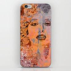Wild Woman modern face mixed media art iPhone & iPod Skin