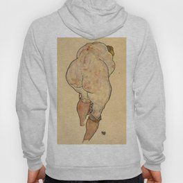 """Egon Schiele """"Female Nude Pulling up Stockings, Back View"""" Hoody"""