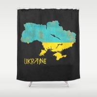 ukraine Shower Curtains featuring Ukraine Vintage Map by Finlay McNevin