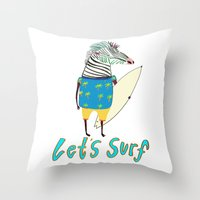 surfboard Throw Pillows featuring Surfer, surfing, surfboard,  by Ashley Percival illustration