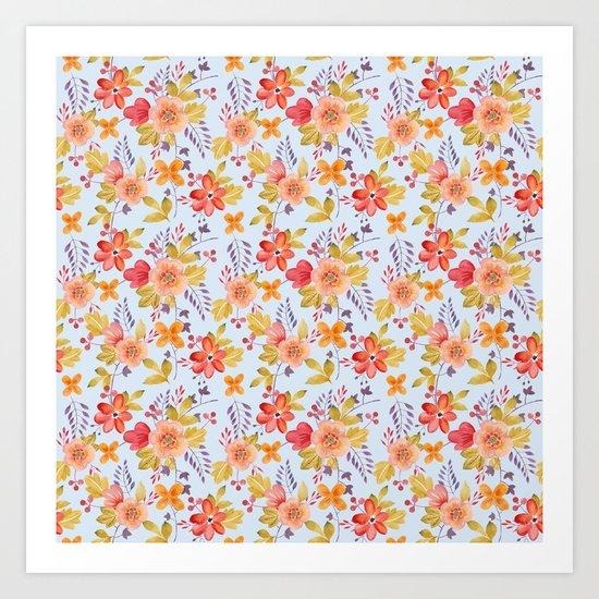 Flower Watercolor Pattern Art Print