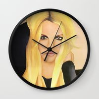 britney Wall Clocks featuring BRITNEY SPEARS  .- BRITNEY JEAN  by Alfonso Aranda