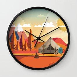 Wild Camping Autumn Landscape Wall Clock