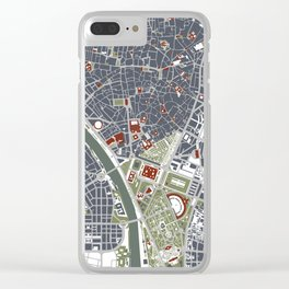 Seville city map engraving Clear iPhone Case