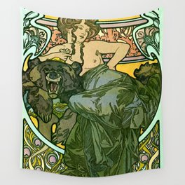 """Alphonse Mucha """"Documents Décoratifs, 1901 (47) - La Dame L'Ours"""" Wall Tapestry"""