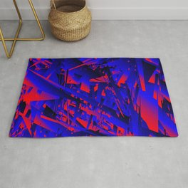 Explosion of geometric shapes. Abstraction on a theme of chaos in the universe. Rug
