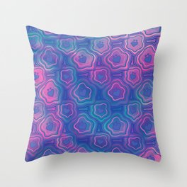 'I Love You Umlaut' Valentine's Pattern - Deep Coral Reef Throw Pillow
