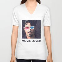 johnny depp V-neck T-shirts featuring Johnny Depp by Pazu Cheng