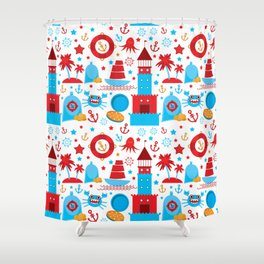 pattern with sea icons on white background. Seamless pattern. Red and blue Shower Curtain
