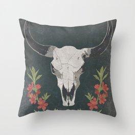 Floral Desert Cow Skull Throw Pillow