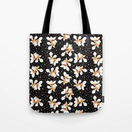 White And Orange Flowers On Black Tote Bag