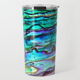 Glowing Aqua Abalone Shell Mother of Pearl Travel Mug