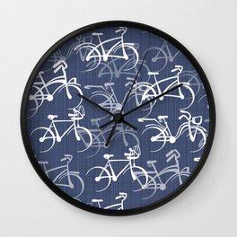 Bicycles Pattern | Medium Warm Blue Wall Clock