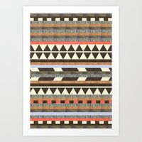 brown Art Prints featuring DG Aztec No.1 by Dawn Gardner