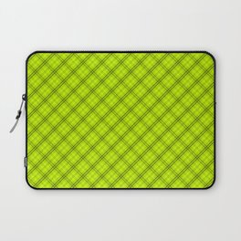 Slime Green and Black Halloween Tartan Check Plaid Laptop Sleeve