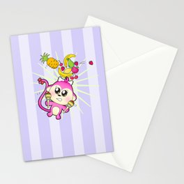 Cute baby monkey playing maracas and dancing Stationery Cards