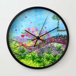 Garden for 3 sisters Wall Clock