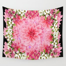 ORNATE PINK FLOWER COLLAGE WITH BLACK Wall Tapestry