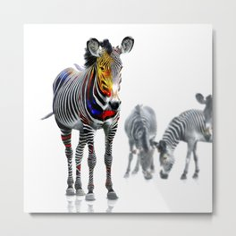 Stand Out Zebra Metal Print