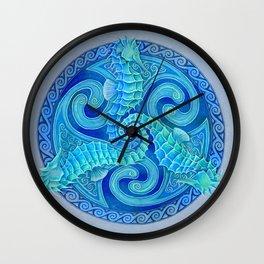 Seahorse Triskele Celtic Blue Spirals Mandala Wall Clock