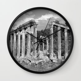 Euromos Ruins Black and White Photography Wall Clock