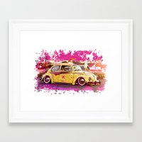 volkswagon Framed Art Prints featuring yellowinpink beetle bug by Vector Art