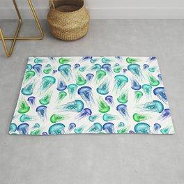 Bluegreen Jellyfish Watercolor Art Rug