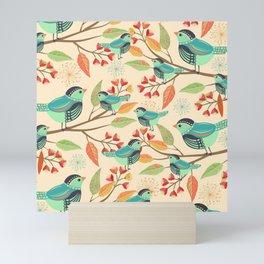 Autumn Birds Floral Mini Art Print