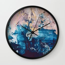 Breathe Again: a vibrant mixed-media piece in blues pinks and gold by Alyssa Hamilton Art Wall Clock