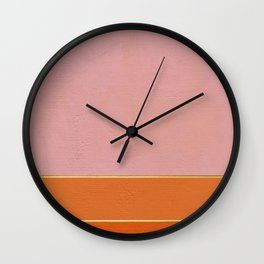 Orange, Pink And Gold Abstract Painting Wall Clock