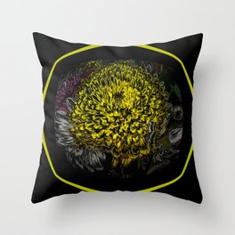 Black Yellow Pink Design Throw Pillow