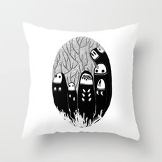 Crowded Wood Throw Pillow