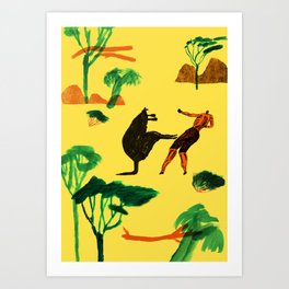 Who will win...Man or Kangaroo? Art Print